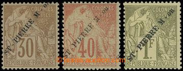 225495 - 1891 Mi.25, 27 a 29, přetiskové Alegorie 30C, 40C a koncov
