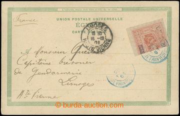225499 - 1901 pohlednice zaslaná do Francie, vyfr. půlenou zn. 20C