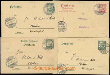 225506 - 1906-1908 4 postcards, from that 1x double, all to Germany,