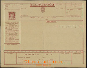 22555 - 1924 1924-CTÚ3 Telegram form with preprinted Sc.#71 A6.Perf