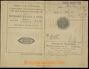 22557 - 1925 blanket mezinárodního telegramu, vzadu s reklamou Pap