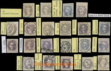 225628 - 1867 Ferch.42, 21ks, sestava všech typů a druhů tisku, v