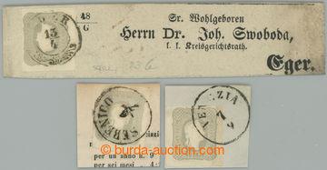 225689 - 1861 Ferch.23a,b, FJ I. 1,05kr, 3ks, světle šedá na výst