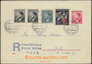 22570 - 1943 CZL4y with margin, sent as Reg with provisory Reg cance