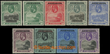 225717 - 1922 SG.1-9, Jiří V. - Sv. Helena ½P-3Sh s přetiskem ASC