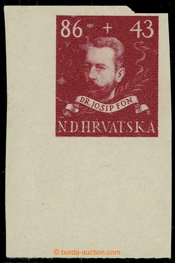 225787 - 1945 NEVYDANÁ / Josip Fon 86+43k tmavě karmínová / hněd