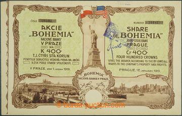 225809 - 1919 ČSR / akcie banky BOHEMIA v Praze na 400K, ze dne 1.1.