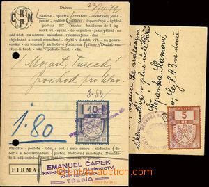 22581 - 1939-42 ČaM  sestava 2ks vyfr. lístků s úředním úkonem uhraz
