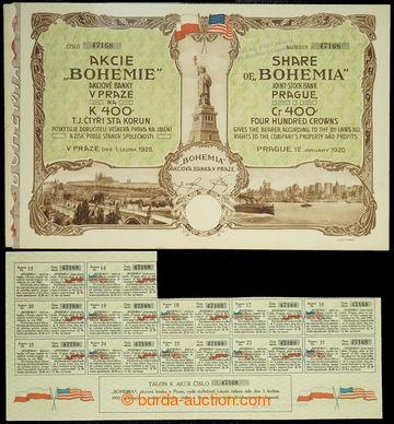 225810 - 1920 ČSR / akcie banky BOHEMIA v Praze na 400K, ze dne 1. l