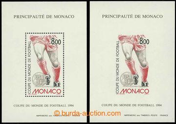 225890 - 1994 Mi.2183, aršík MS ve fotbale 1994, 2ks, zoubkovaný a