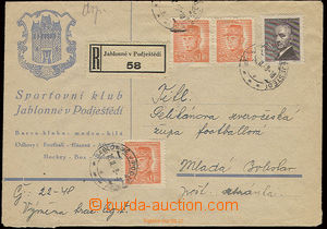 22592 - 1948 Reg letter with additional-printing Sporting club  Jabl