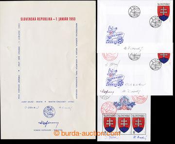 226141 - 1993 FDC č.1, 2ks s podpisy autorů, 1x Baláž, Činovský