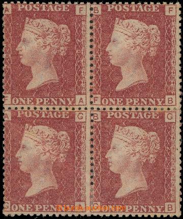 226172 - 1864 SG.43, 1P hnědočervená ve 4-bloku, TD 202; lom, kat.