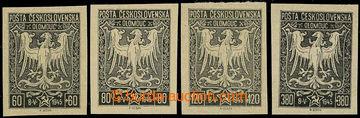 226214 - 1945 OLOMOUC / sestava 4ks zkusmých tisků v černé barvě