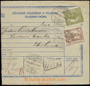 22623 - 1919 telegrafická poukázka ve slovenské (!!) mutaci s monogr