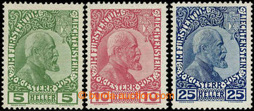 226280 - 1912 Mi.1-3x, Johann II. 5H - 25H křídový papír; nepatrn