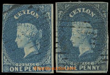 226470 - 1857 SG.2a, 2b, Viktoria (Perkins Bacon) 1P modrá na bílé