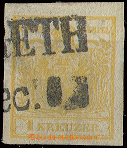 22648 - 1850 issue I 1 Kr, Mi.1, hand-made paper type Ib, orange, ve