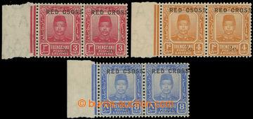 226485 - 1917 SG.19c, 20c, 22c, Sultán Zain 3C, 4C, 8C; 2-pásky s p