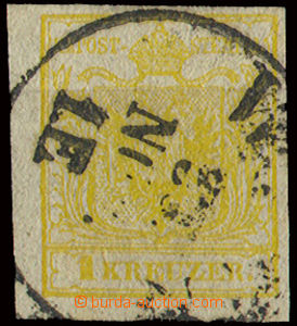 22650 - 1850 issue I 1 Kr, Mi.1, hand-made paper, type III.,  orange