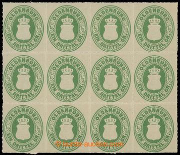 226507 - 1862 Mi.15B, Znak 1/3Gr zelená; luxusní 12-blok, kat. 1.80