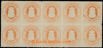 226508 - 1882 Mi.16B, Znak 1/2Gr oranžová; bezvadný 10-blok, nepor