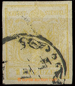 22651 - 1850 issue I 1 Kr, Mi.1, machine made paper type Ib, wide ma