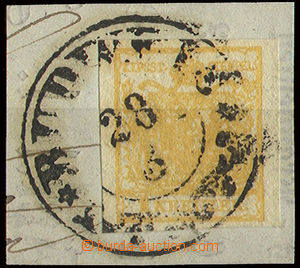 22654 - 1853 I.issue, 1Kr, Mi.1X, HP, type Ia orange ample margines,