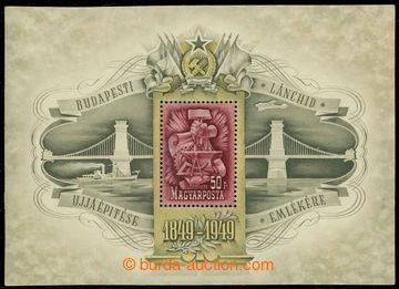 226584 - 1949 Mi.Bl.17, aršík 100 let řetězového mostu v Budape�