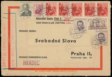 226700 - 1953 1. DEN / NÁDRAŽNÍ DOPIS / úřední obálka s červe