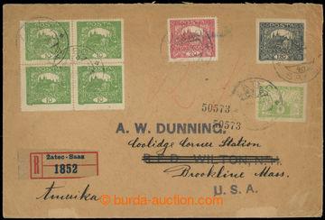 226958 - 1920 R-dopis do USA, vyfr. zn. 120h nezoubkovaná +10h zelen