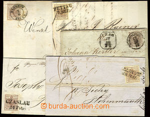 22696 - 1850 - 52 comp. 5 pcs of folded letters with issue I 6 Kreuz