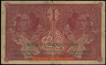227027 - 1919 Ba.10, 20Kč 1919, série P088; přeloženo křížem,