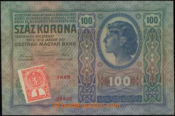 227031 - 1919 Ba.5, 100K 1912 s nezoubkovaným kolkem 1K; lehce kří