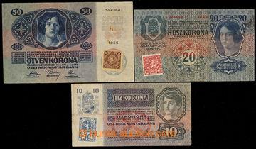 227033 - 1919 Ba.1a, 2, 4, 10K 1915 s nezoubkovaným kolkem + 20K I.