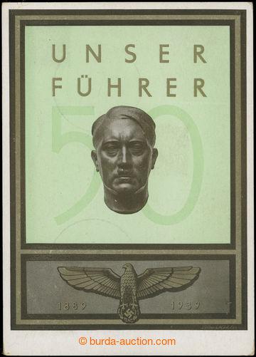 227128 - 1939 Unser Führer/ 1889 - 1939, vícebarevná pohlednice s