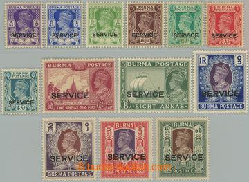 227372 - 1939 SG.O15-O27, Služební Jiří VI. 3Pia - 10Rs s přetis