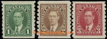 227377 - 1937 SG.368-370, George VI. 1C-3C COIL; complete set, c.v..