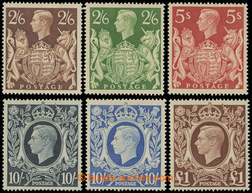 227407 - 1939-1948 SG.476-478c, Jiří VI. 2Sh6P - £1; po nálepce,