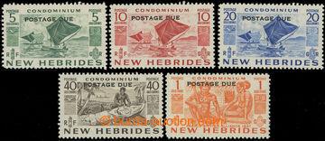 227443 - 1953 SG.D11-D15, doplatní 5c - 1Fr s přetiskem POSTAGE DUE