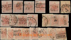 22746 - 1850 Lombardsko-Benátsko  I.emise 15Cmi, sestava 21ks zn. r