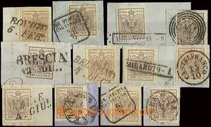 22750 - 1852-56 Lombardy - Venetia 12pcs on piece I.issue 30Cmi, dif