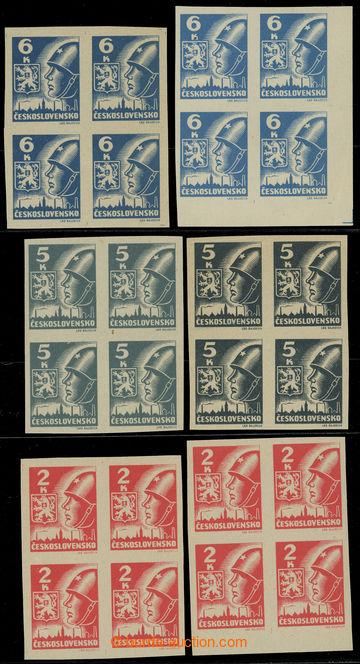 227552 -  Pof.354-356, sestava 6ks 4-bloků, 2K červená, 5K tmavě