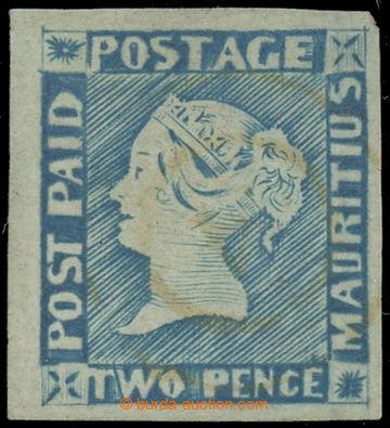227613 - 1848 SG.15, Modrý Mauritius POST PAID, 2P light blue interm