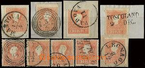 22776 - 1858 LOMBARDSKO-BENÁTSKO  sestava 5ks výstřižků a 4ks zn. II