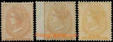227803 - 1863-1881 SG.7, 8, 13, 3x Viktorie 1/2P dull orange, orange-
