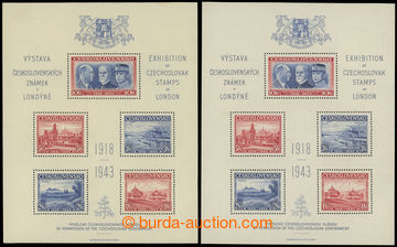 227829 - 1943 AS1, Londýnský aršík, sestava 2ks; oba luxusní