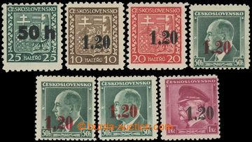 227850 - 1938 ASCH / Mi.1-5, kompletní řada přetisků na čs. zn.,
