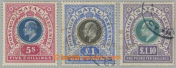 227899 - 1902 SG.140, 142, 143, Edvard VII. 5Sh, £1 a £1.10; vysok�