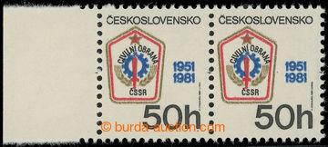 227934 - 1981 Pof.2499 VV, Civilní obrana 50h, vodorovná 2-páska s